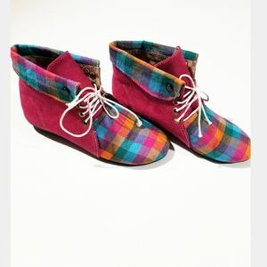 Vintage Colorful Checkered Lace Suede Ankle Boots
